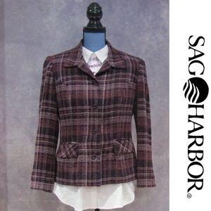 Sag Harbor Petite Pink Purple Tweed Blazer Jacket